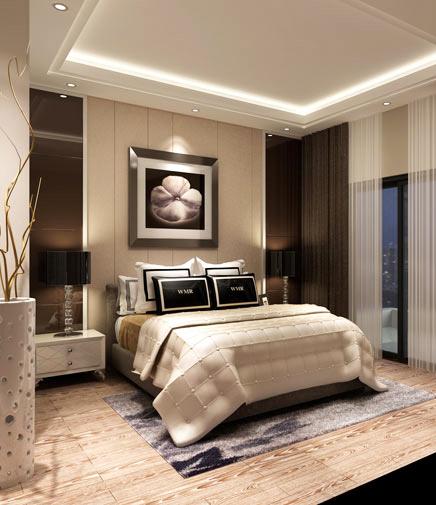 设计师继续为卧室铺叙简约的设计线条.