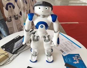 萌萌的机器人吸引了不少人的眼球