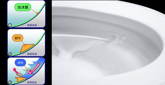 泡沫净技术+超洁抗污 便器轻松去污