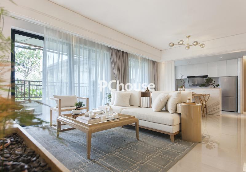 意蕴东方自然典雅 素色新中式样板房设计_设计会客厅