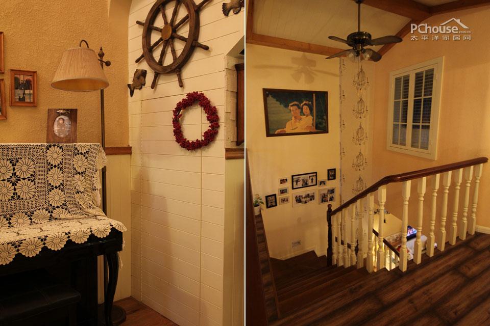 手绘壁纸,照片墙的装饰让楼梯墙摆脱了单调冷冰的印象.