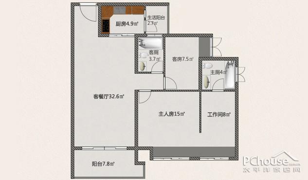 89平三房改两房