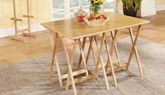 美乐乐原木色餐桌5件套