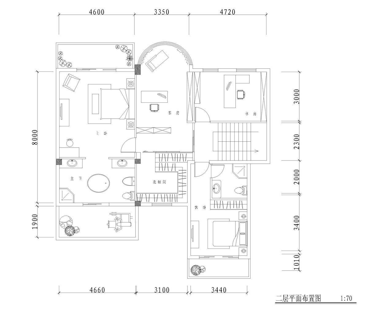 二层平面布局图; 二层别墅布局图;