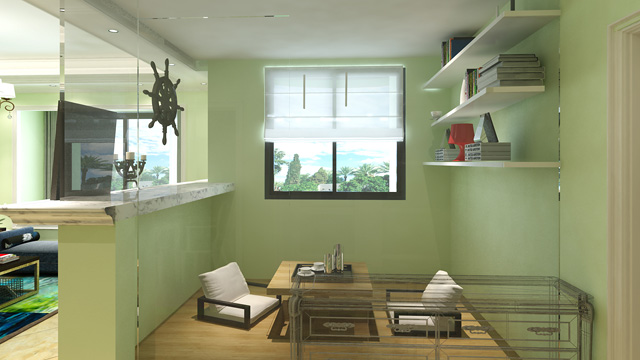 半开放式的设计使多功能房集办公,休闲,塔塔米储物的功能.