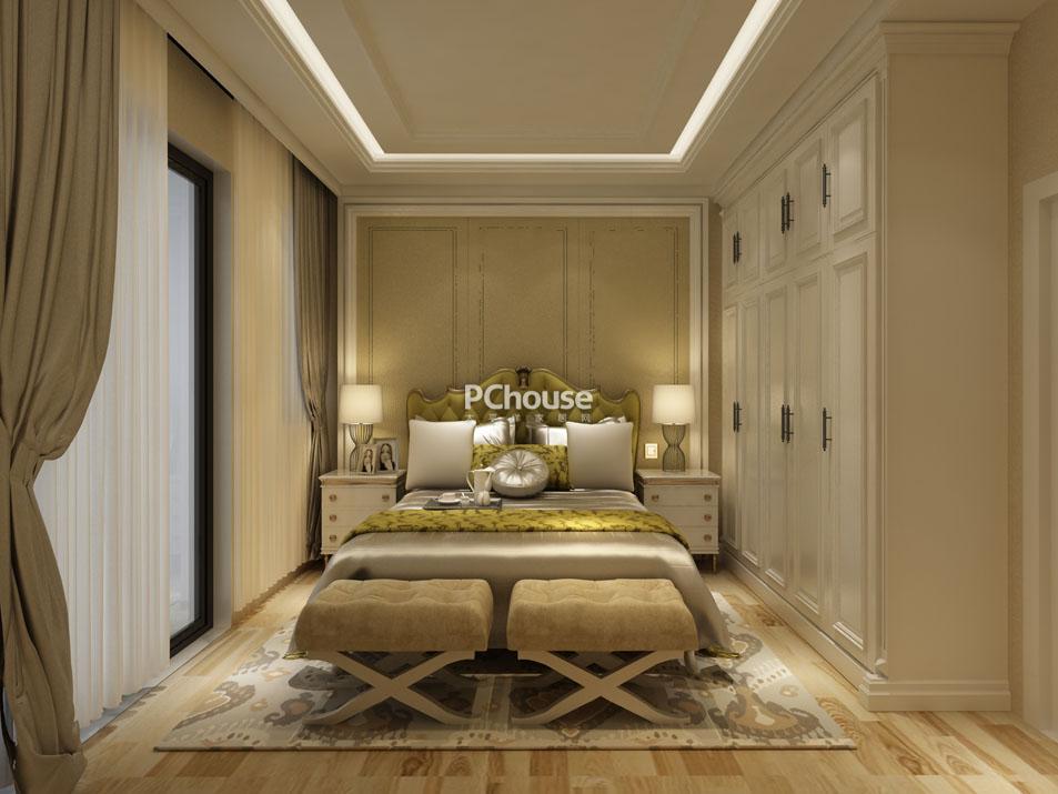 主卧采用了具有贵族气息的黄色系色彩,木饰面地板,简白衣柜,明黄软包