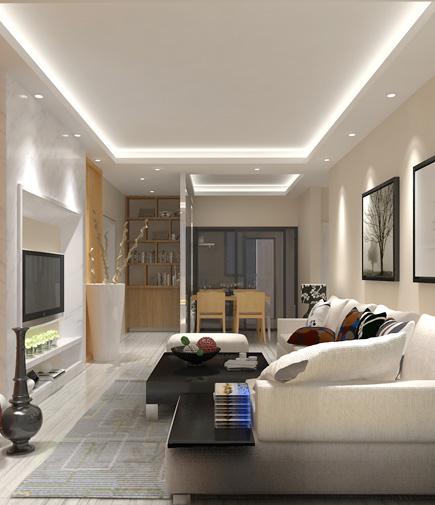 厨房的缩小使客厅的面积增大,设计师把冰箱放置到客厅与厨房之间图片