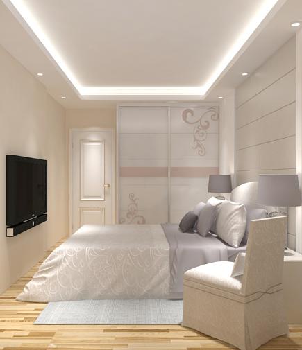 设计师在主卧进门的左边设置了一个衣柜,以此分割主卧和卫生间,降低图片