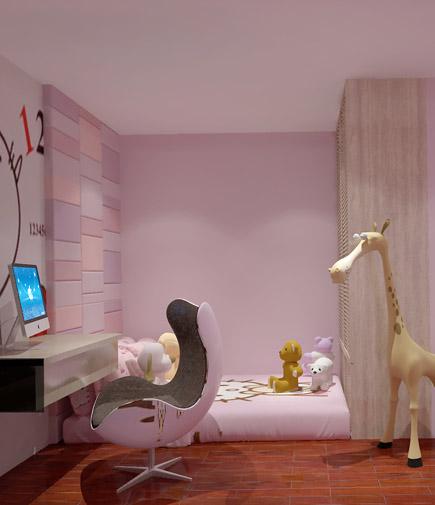 儿童房里使用了榻榻米连衣柜的做法,床头背景使用了连接到天花的软包