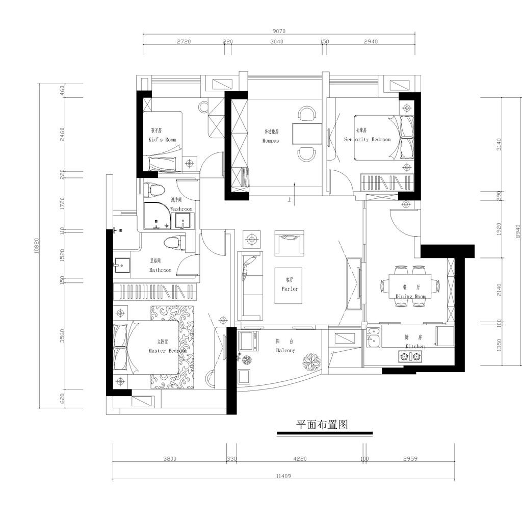 交换空间小户型设计110平面图图片