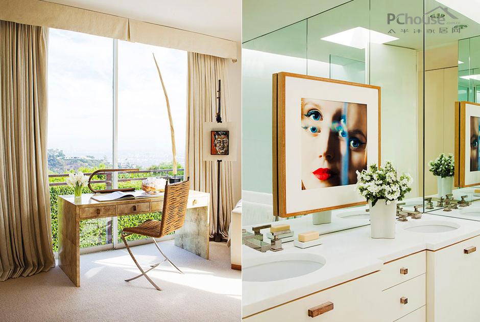 空间 百强/在主卧室的大型玻璃窗户前方,羊皮纸覆盖的书桌由Garrison