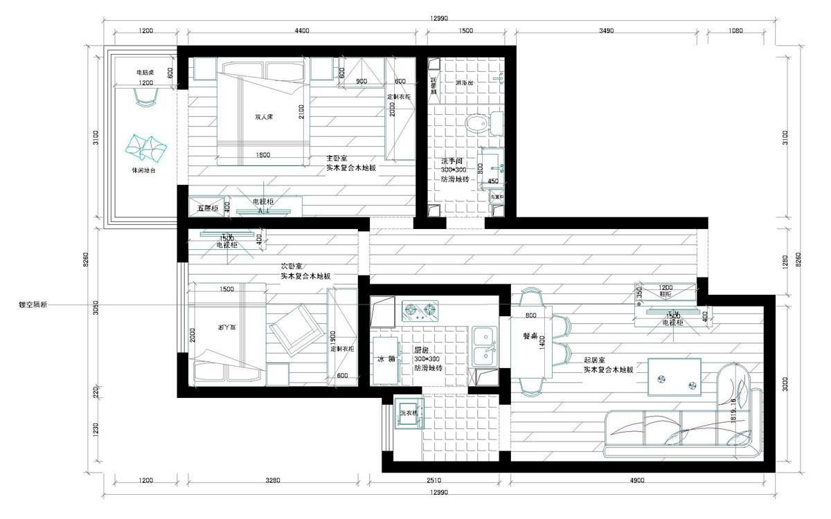 二套80多平米(总长16米,总宽10米)小户型三室一厅二卫或一卫设计图,不
