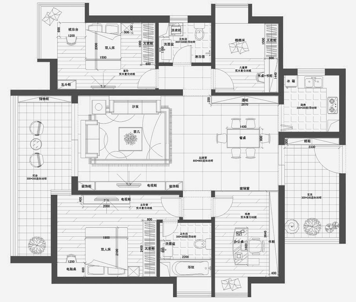 一间房屋格局设计图