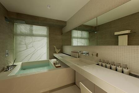 极简空间中线条非常明晰,水泥墙面带出粗犷气息,与庸常的瓷片盥洗室