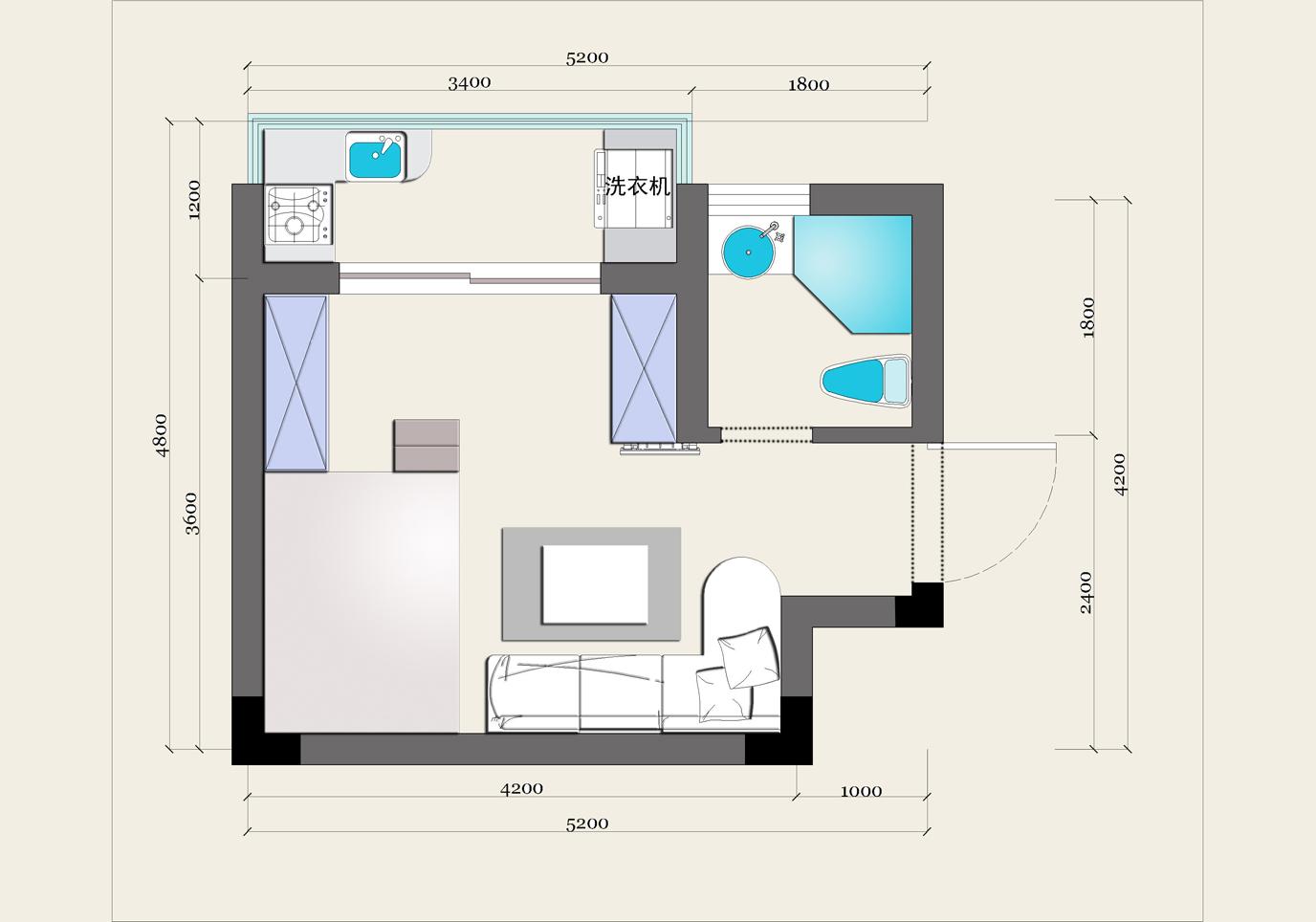 昶卓设计提供的平面设计图: (点击查看大图) 2回顶部 part 1:客厅设