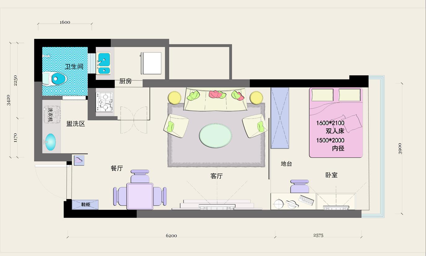 PART 2:厨房设计  (厨房原始户型图) 原始户型分析:   1、原厨房已从公共区域挪用了空间,但仍然显得面积狭小。   2、厨房中间有承重墙阻挡,对烹饪流程会产生一定影响。 听听业主怎么想:   1、厨房太小,而且只有一个灶头,希望可以增加灶头设计。   2、阳台太小,希望参考邻居用不锈钢围延伸阳台。  (厨房平面设计图) 黄莉设计师支招:   1、把阳台纳入厨房使用,变身成为冰箱收纳位,方便烹饪之用。   2、利用承重把清洗区与烹饪区分隔,让厨房功能区划分更合理。  (厨房空间效果图) PChou