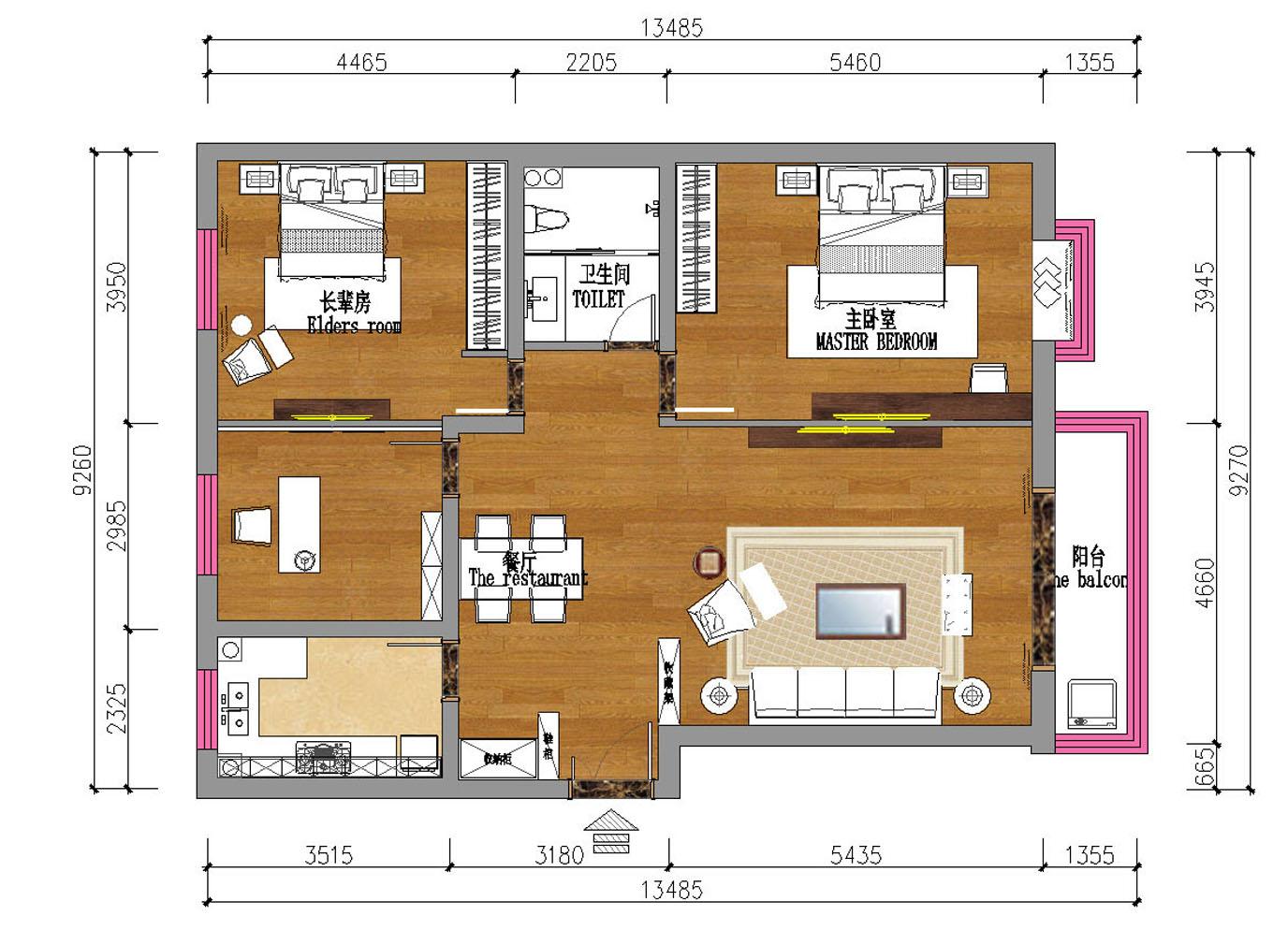 PART 1:客厅设计  (客厅原始户型图)   原始户型分析:   1、客厅格局方正,与玄关之间有雕花隔断,坐拥南向阳台,采光通风好。   2、餐厅位于过道尽头角落里,用餐区域稍显狭窄,且与厨房相隔甚远。   业主需求分析:   1、西北空气干燥,散射光少,颜色还是得以白色为主,客厅餐厅墙面乳胶漆即可。   2、另外需要一个酒柜,摆一些名酒和工艺品,另外还要放酒杯茶杯的收纳展示区。  (客厅平面设计图)   马思设计支招:   1、客厅的格局保持不变,在原来的基础上,用白色搭配灰黑色,打造时尚空间。
