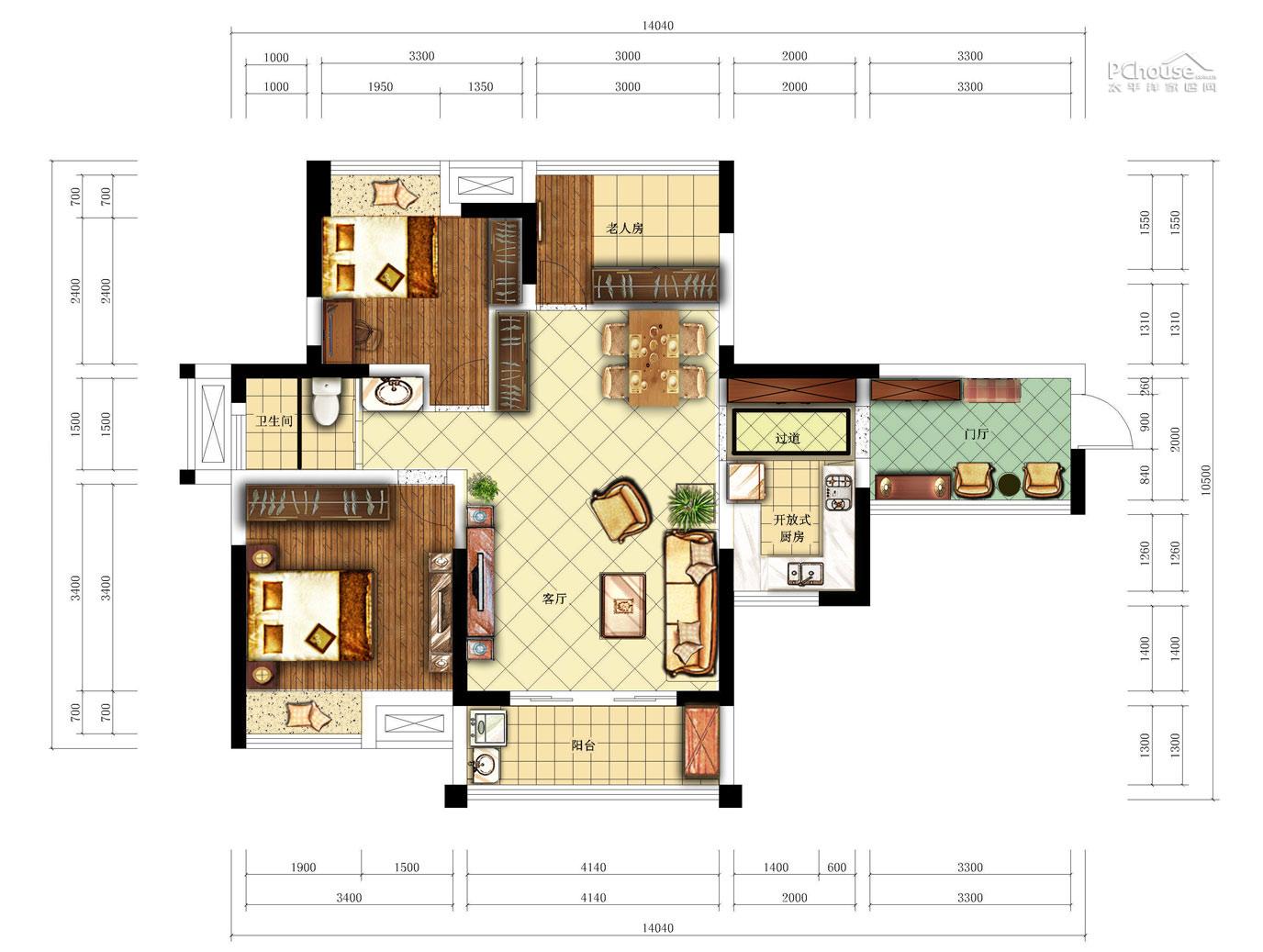 小空间再翻倍 中式田园风格二居室婚房图片