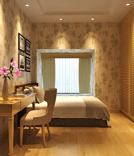 次卧室的衣柜变成了嵌入墙体式设计