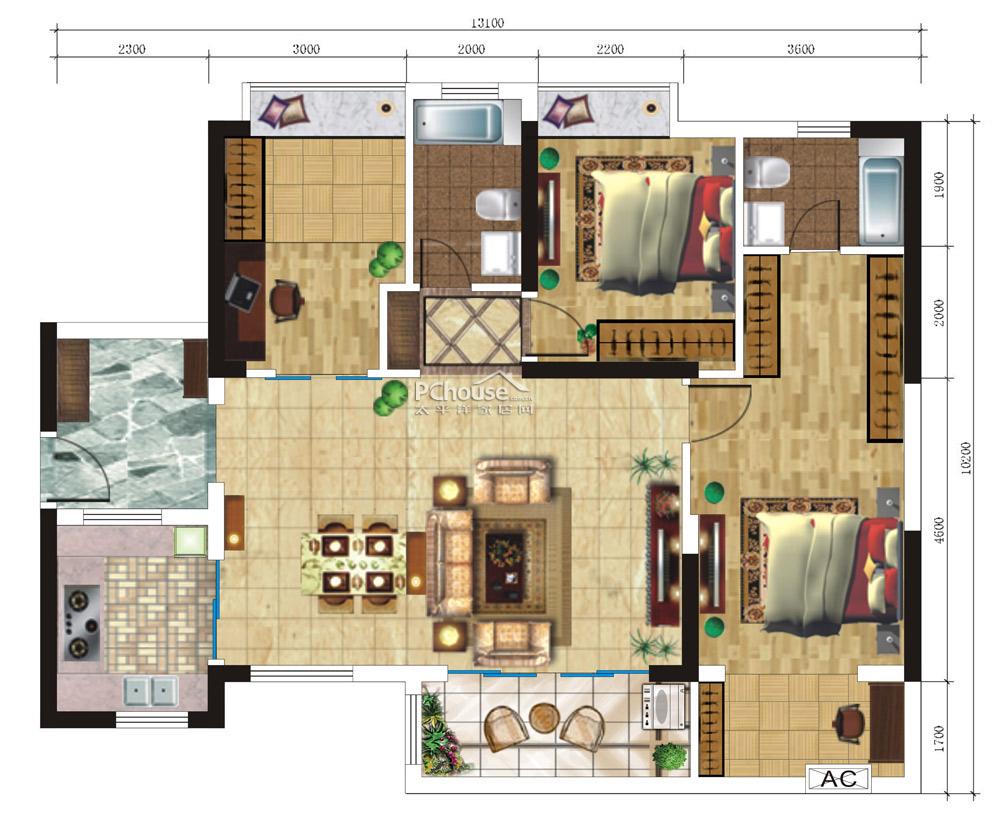 原始户型分析:   1、客餐厅隔断不明显,餐桌摆放方式有浪费空间之嫌。   2、对于三口之家来说,卧室数量显得稍多,功能较单一。   3、大阳台贯穿主卧室,隐私不能得到很好的保障。   4、主卧室内的衣帽间收纳空间较局限,收纳量少。 段盈盈设计师提供的平面设计图: