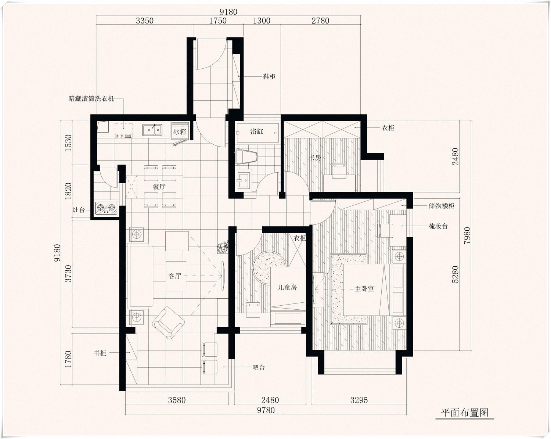 90平米装修典范 3房2厅小户型收纳设计高清图片