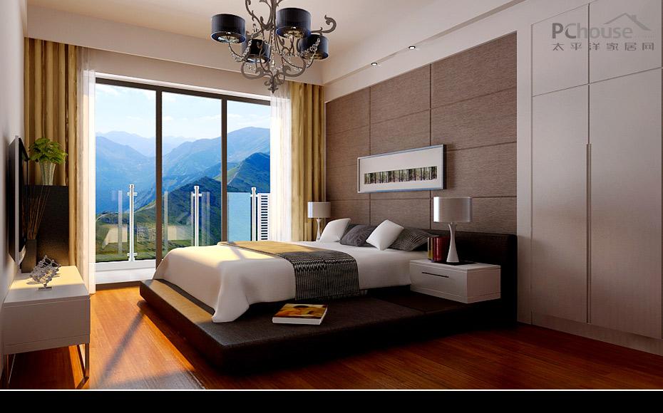 床头背景的是焦点,可以选用防潮木板