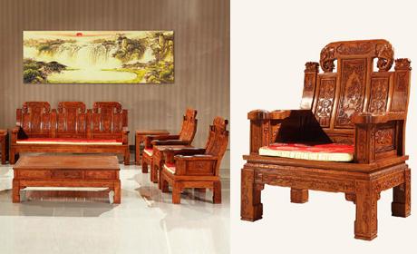 索格清式缅甸花梨木大如意沙发10件套