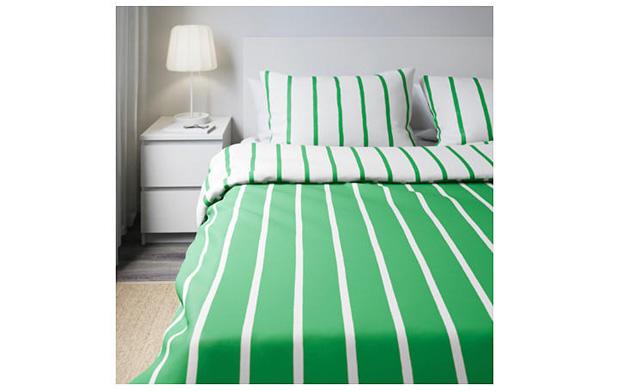 宜家家居图瑞卡绿色白色被套枕套